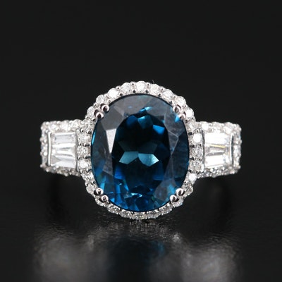 EFFY 14K London Blue Topaz and Diamond Ring