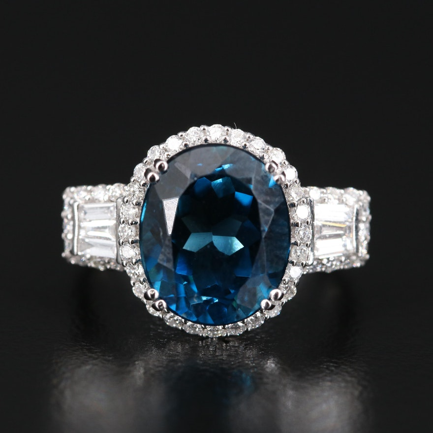 EFFY 14K London Blue Topaz and Diamond Ring