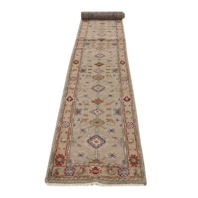 2'7 x 16'1 Hand-Knotted Indo-Turkish Oushak Carpet Runner, 2010s