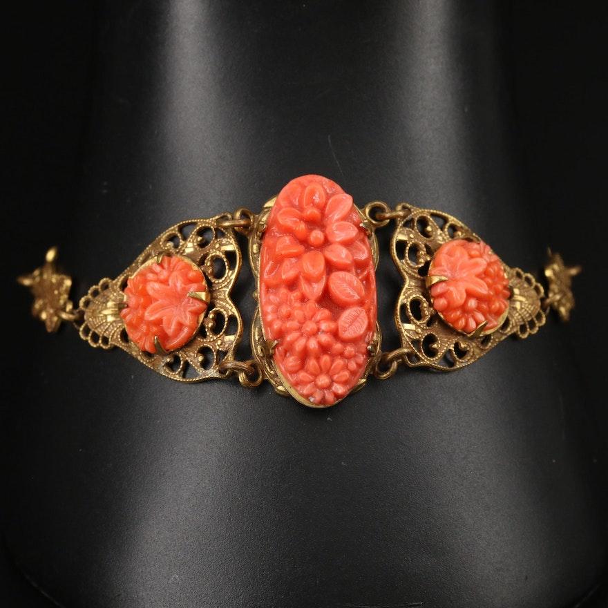 Vintage Faux Coral Openwork Bracelet