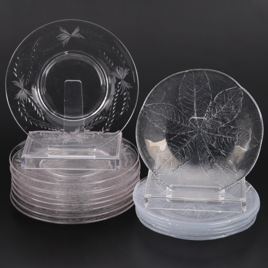 Foliate Patterned Molded and Etched Glass Salad Plates, Mid-20th Century