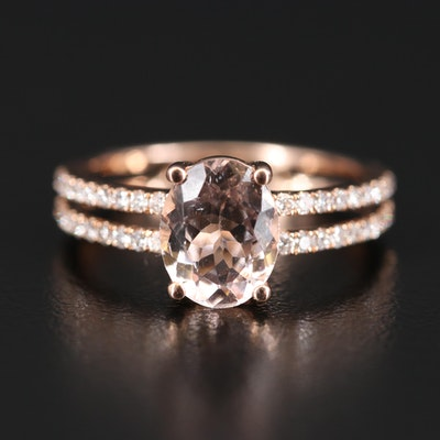 EFFY 14K Morganite and Diamond Split Shoulder Ring