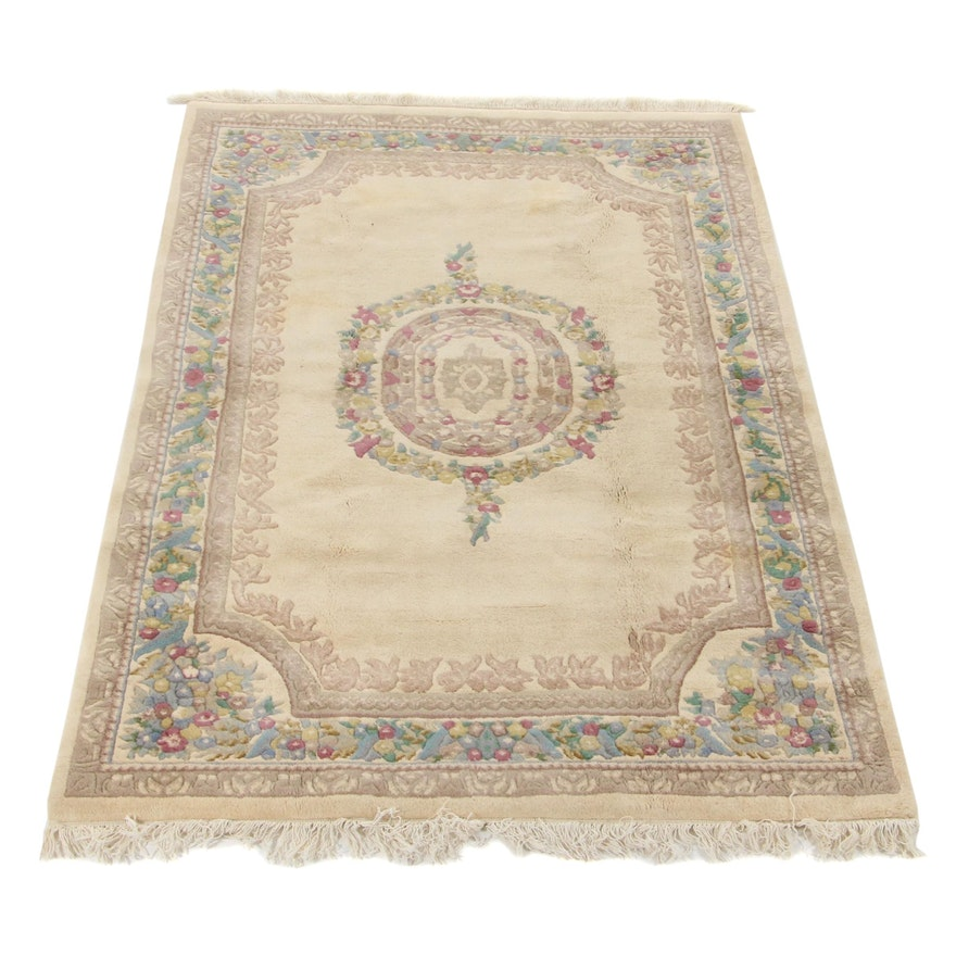 5'10 x 9'5 Hand-Knotted Indo-French Aubusson Carved Pile Area Rug, 1990s