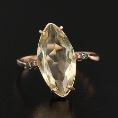 14K Citrine and Diamond Navette Ring