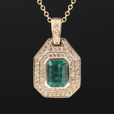 EFFY 14K 1.00 CT Emerald and Diamond Necklace