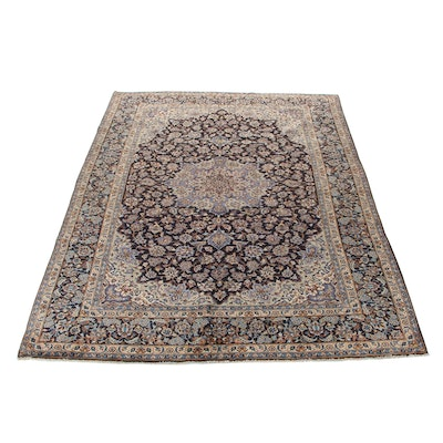9'4 x 13'4 Hand-Knotted Persian Isfahan Room Size Rug, 1970s