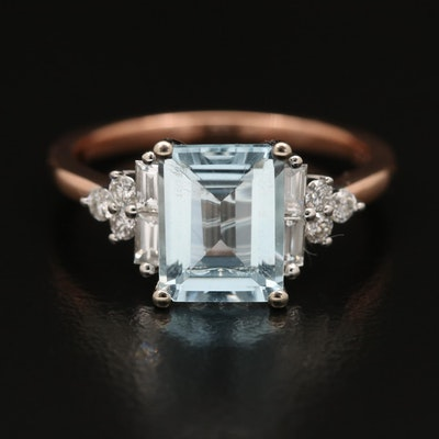 EFFY 14K 2.09 CT Aquamarine and Diamond Ring