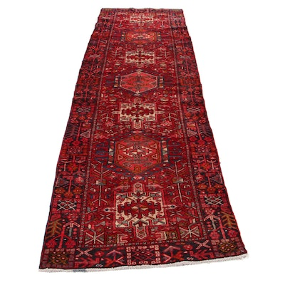 3'3 x 11'4 Hand-Knotted Persian Karaja Long Rug, 1970s