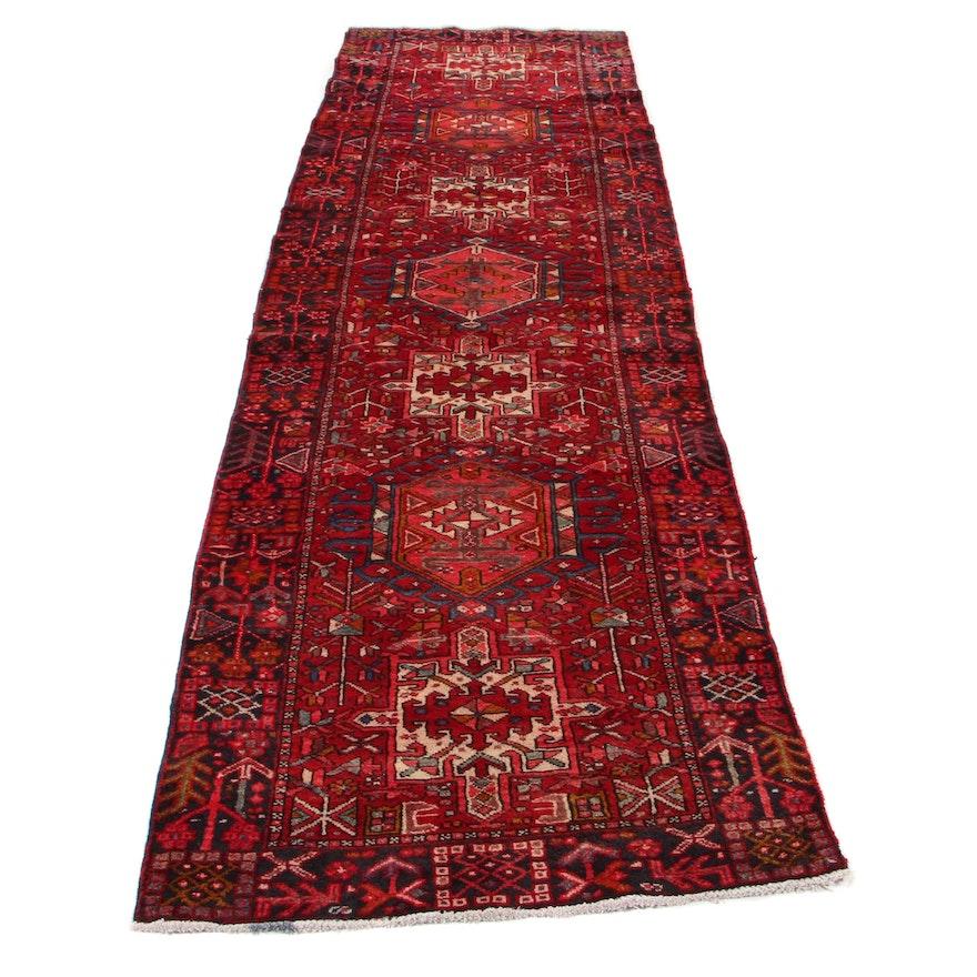 3'3 x 11'4 Hand-Knotted Persian Karaja Long Rug, 1970s