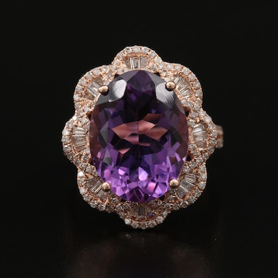 EFFY 14K 8.50 CT Amethyst and Diamond Ring with Scalloped Edges