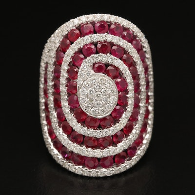 EFFY 14K Ruby and 1.52 CTW Diamond Swirl Ring
