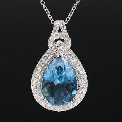 EFFY 14K 7.85 CT Topaz and Diamond Double Halo Necklace