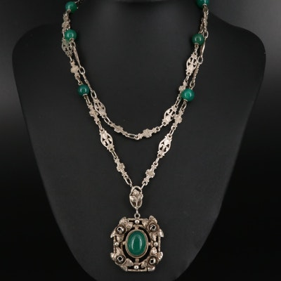 Vintage Italian Fratelli Peruzzi Sterling Chalcedony Necklace