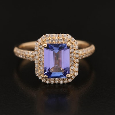 EFFY 14K Tanzanite and Diamond Double Halo Ring