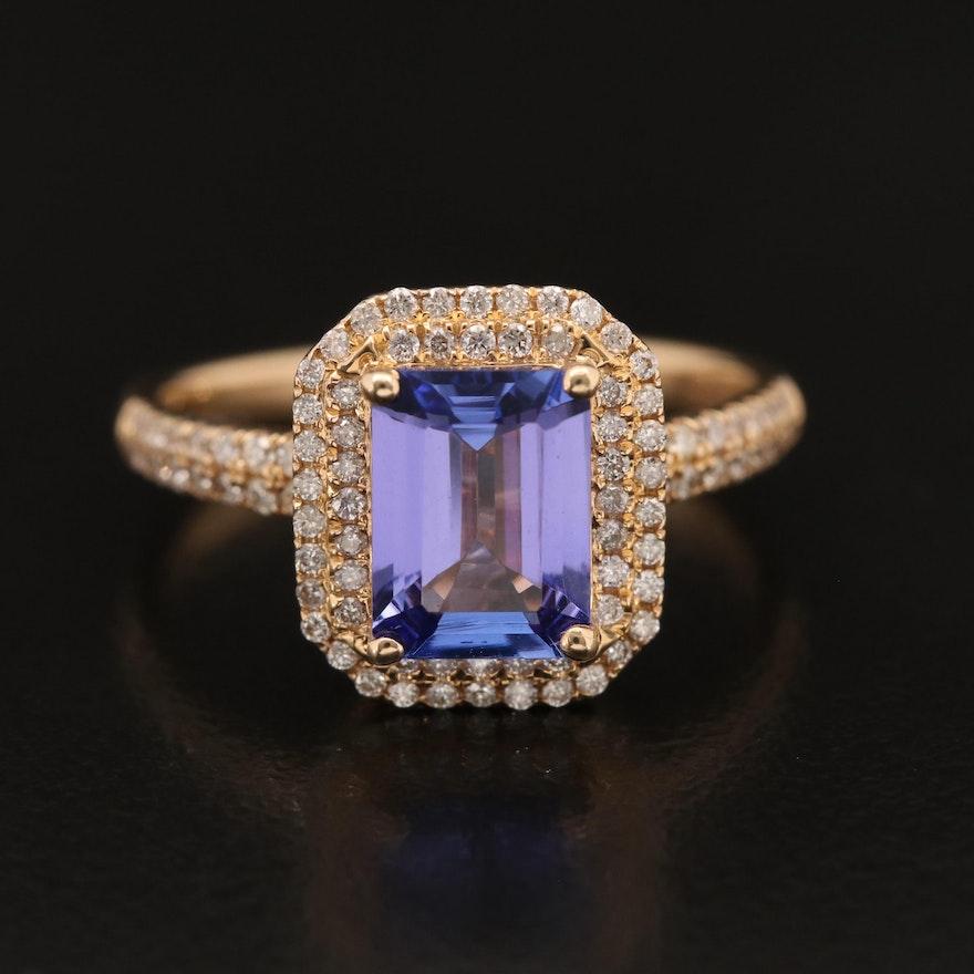 EFFY 14K Tanzanite and Diamond Double Halo Ring