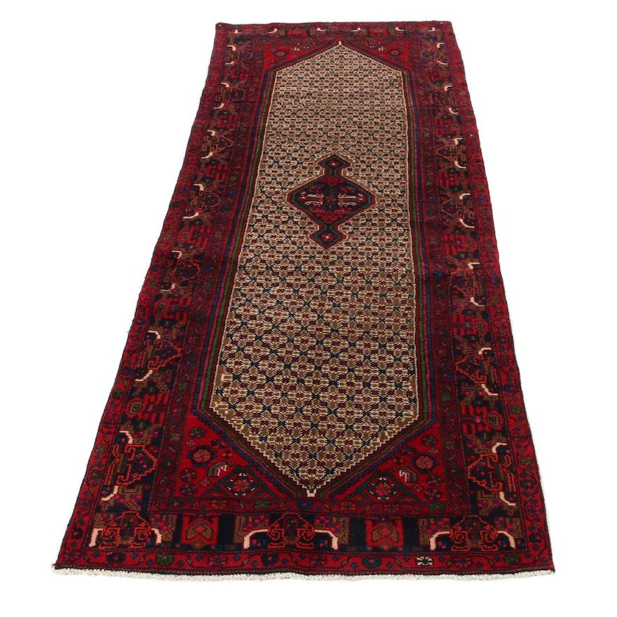 3'5 x 9'3 Hand-Knotted Persian Kurdish Kolyai Long Rug, 1970s