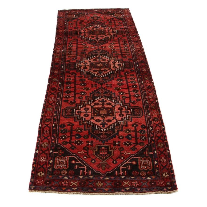 3'5 x 9'9 Hand-Knotted Persian Zanjan Long Rug, 1970s