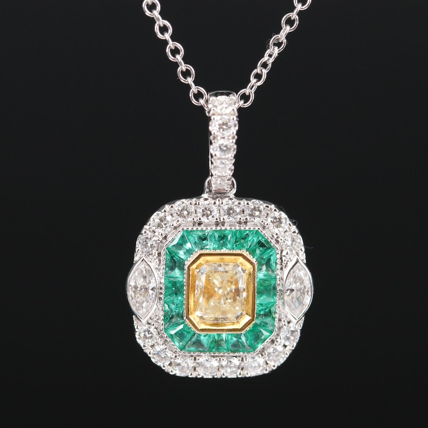 EFFY 18K Diamond and Emerald Pendant on 14K Cable Chain Necklace