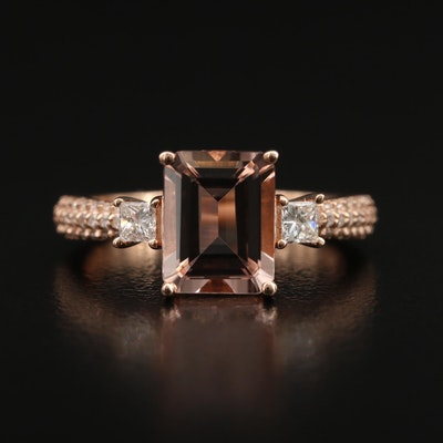EFFY 14K Morganite and Diamond Ring
