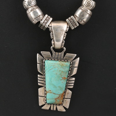 Relios Sterling Silver Turquoise Pendant on Fancy Link Chain