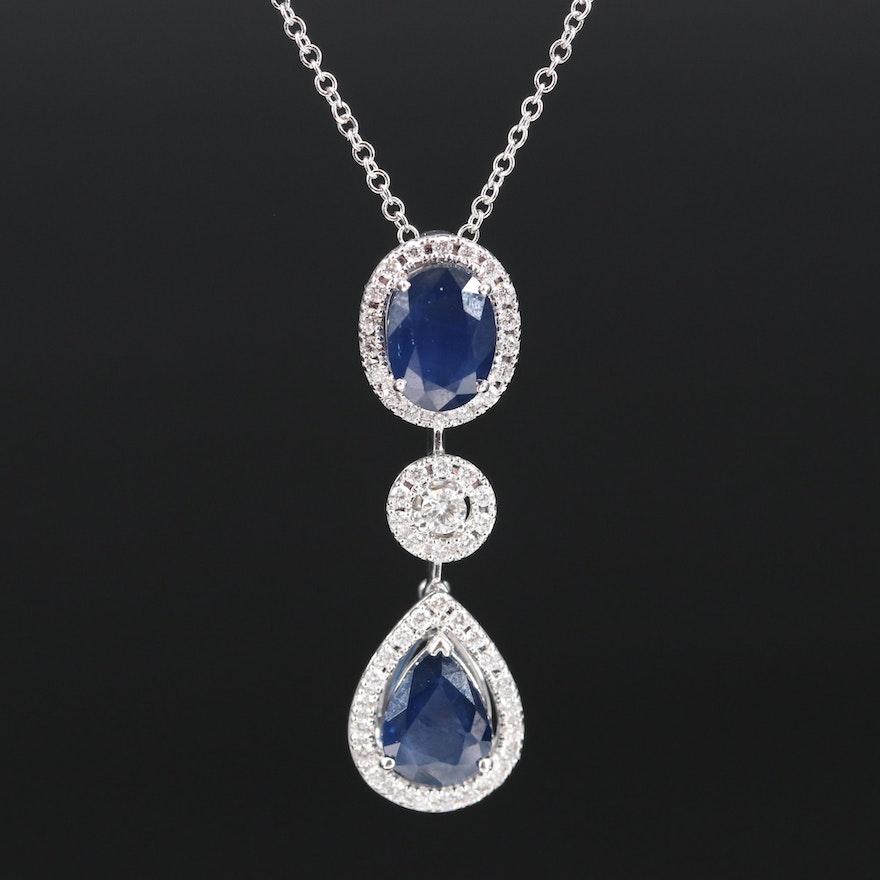 EFFY 14K 2.75 CTW Sapphire and Diamond Necklace
