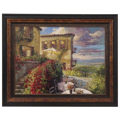 "Steve Quartly Embellished Giclée ""Villa Firenze,"" 21st Century"