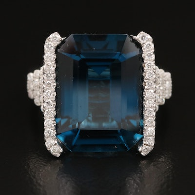 EFFY 14K 13.58 CT Topaz and Diamond Ring