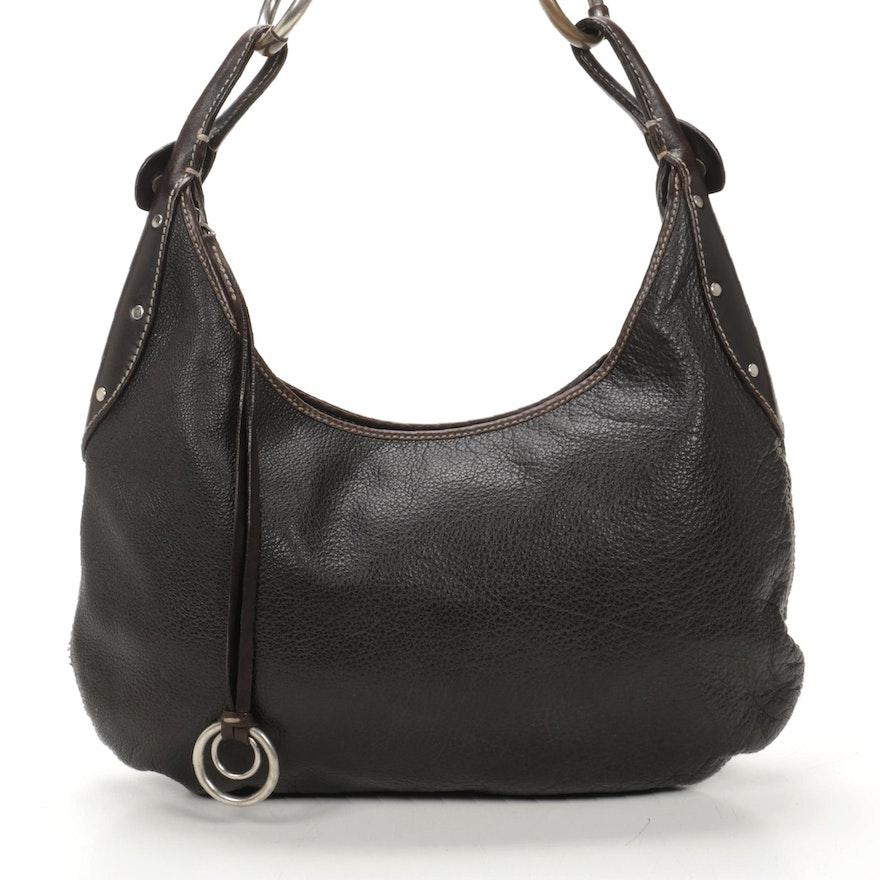 Ruehl Pebbled Leather Brown Shoulder Bag