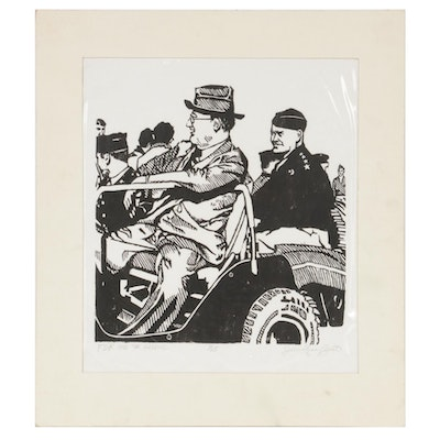 "Julie Lynn Crist Woodcut ""FDR and the General,"" 1975"