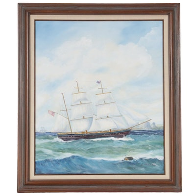 "Jack Parker Oil Painting ""A British Ship Rounding Cape of Good Hope,"" 2003"