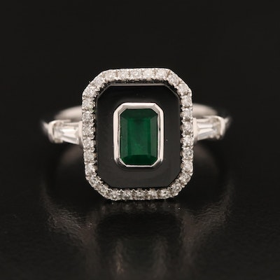 EFFY 14K Emerald, Diamond and Black Onyx Ring