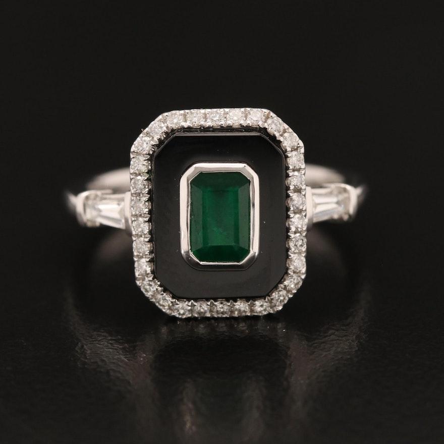 EFFY 14K Emerald, Diamond and Black Onyx Ring