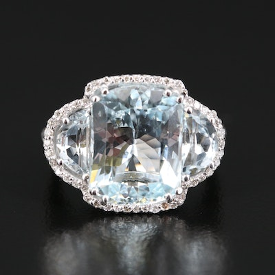 EFFY 14K 5.76 CT Aquamarine and Diamond Ring
