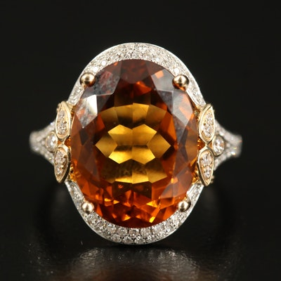 EFFY 14K 9.64 CT Citrine and Diamond Ring