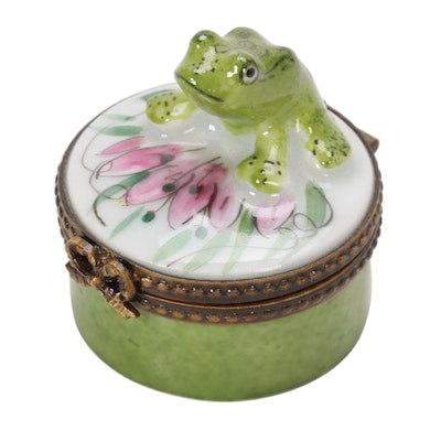 Thabard Hand-Painted Porcelain Tree Frog Limoges Box