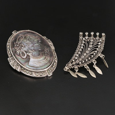 Mother of Pearl and Marcasite Cameo Brooch with Filigree Brooch and Sterling