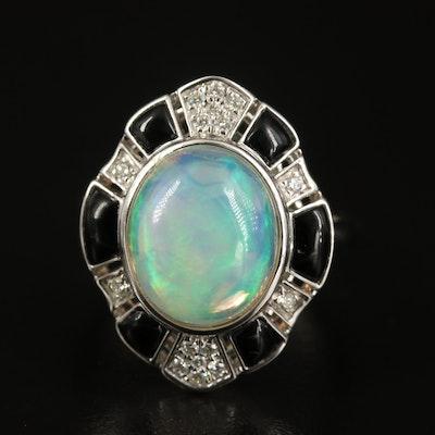 EFFY 14K Opal, Diamond and Black Onyx Ring