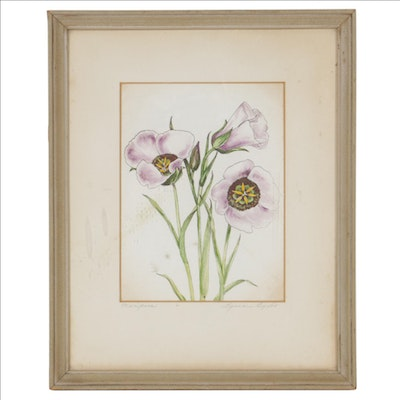 """Lyman Byxbe Embellished Print """"Mariposa,"""" Mid to Late 20th Century"""