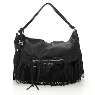 Aimee Kestenberg Pebbled Leather Fringe Satchel Bag