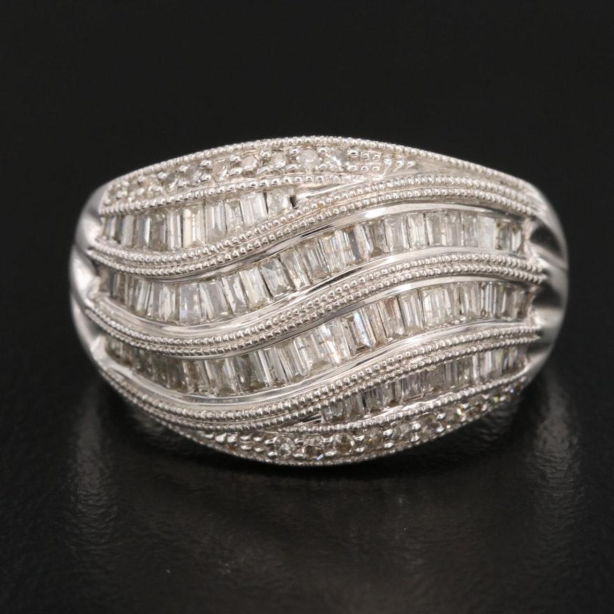 14K Diamond Domed Ring