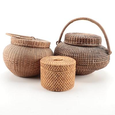 Woven Lidded Baskets