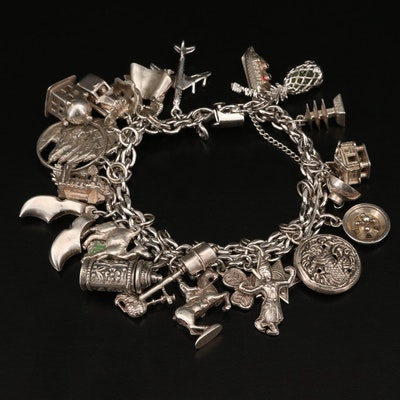 Sterling Charm Bracelet Including Enamel and Peridot