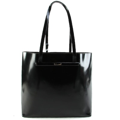 Modified Gucci Black Patent Leather Tote Bag with Zipper Pouch