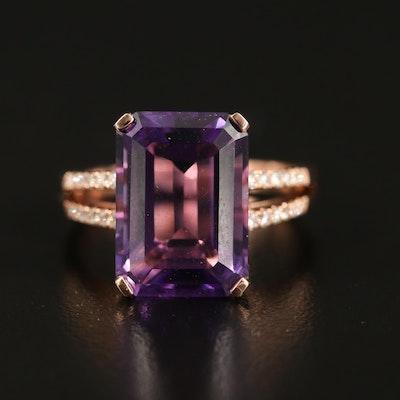 EFFY 14K 7.25 CT Amethyst and Diamond Ring