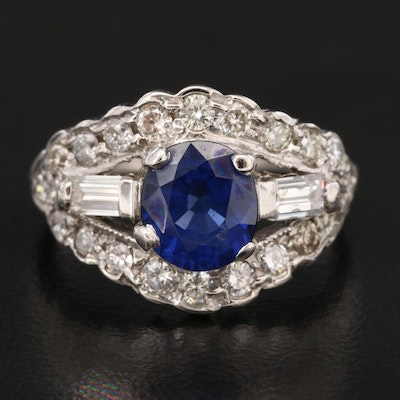 14K 1.43 CT Sapphire and Diamond Scalloped Ring with Platinum Shank