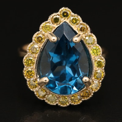 14K 7.00 CT London Blue Topaz and Diamond Ring
