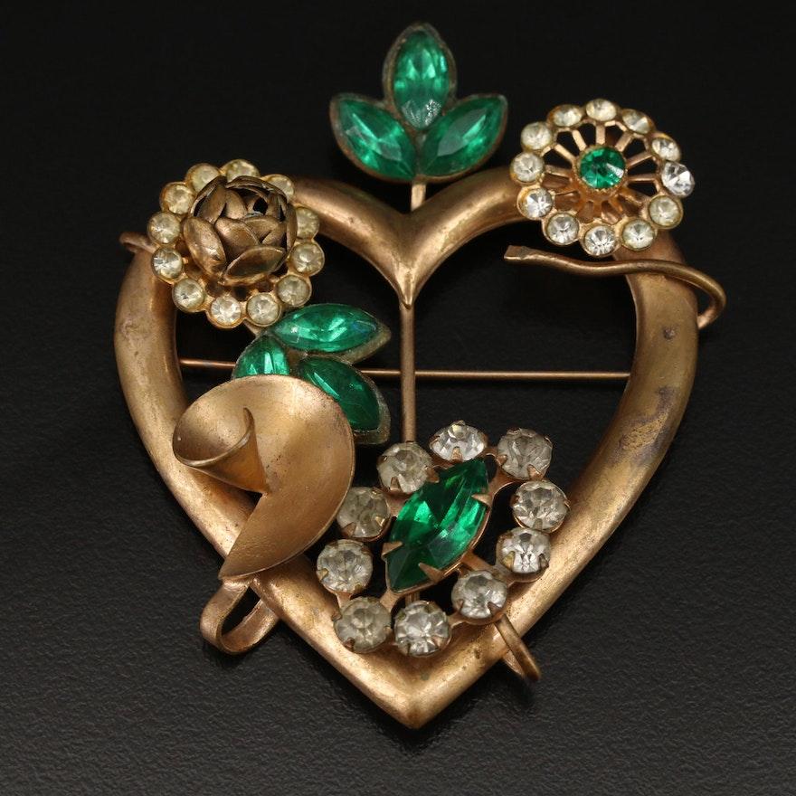 Vintage Rhinestone Heart Brooch