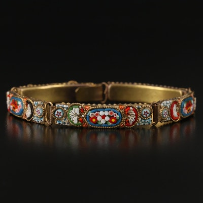 Vintage Glass Micromosaic Panel Link Bracelet