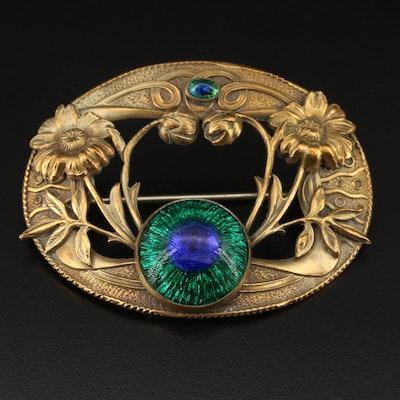 Art Nouveau Peacock Glass Foliate Oval Brooch