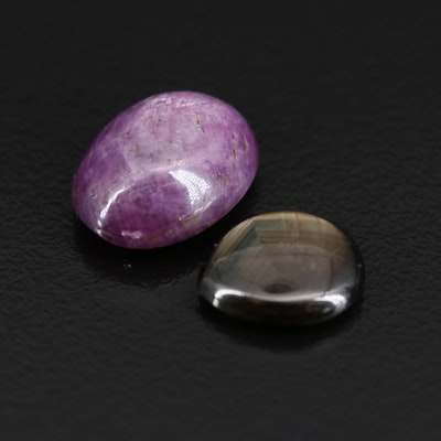 Loose Black Star Sapphire and Star Corundum Cabochons